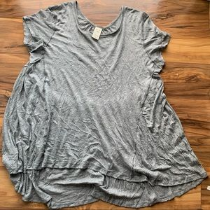 We the free loose fitting raw hem illusion top S